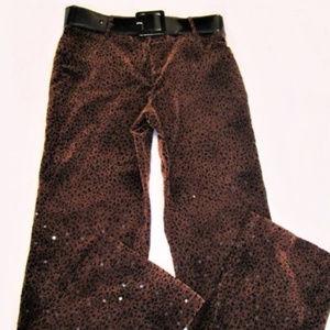 "Jean Cat Print Sequins size 8 29""w 38""h FREE BELT"